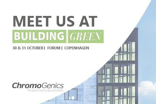 """Cover photo for a news update with the logo, a building with facade glass and the text """"Meet us at Building Green""""."""