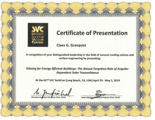 Certification of Presentation for Claes G. Granqvist