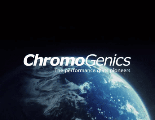 White logo for ChromoGenics over a background of the globe from space