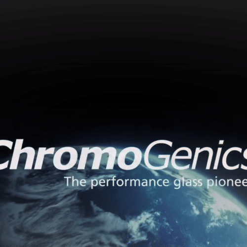 Cropped photo of ChromoGenics logo over a background of the earth