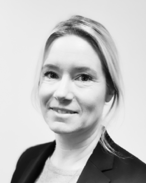 Black and white profil picture of Jenny Wahlström, Production Planning and Purchasing at ChromoGenics