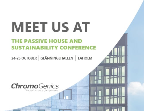 """Cover photo for a news update with the logo, a building with facade glass and the text """"Meet us at the passive house and sustainability conference""""."""