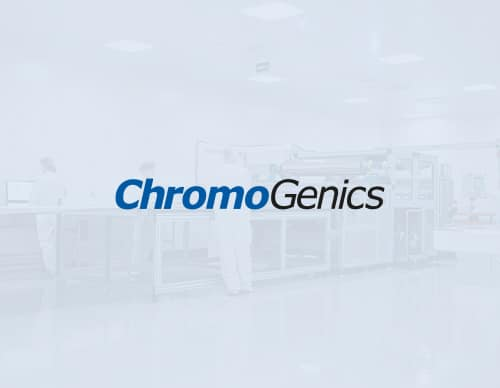 ChromoGenics logo in blue and black over a photo from the factory with white overaly