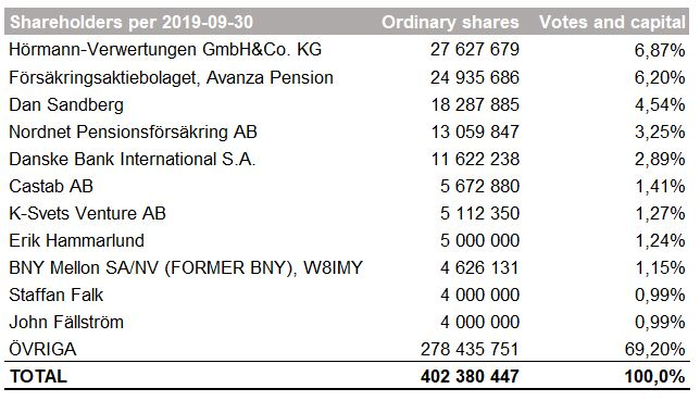 Screenshot of the shareholders in 2019