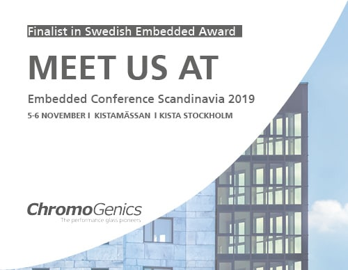 """Cover photo for a news update with the text """"Finalist in Swedish Embedded Award. Meet us at Embedded Conference Scandinavia 2019."""