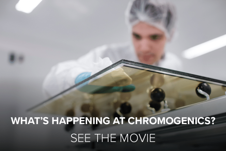 """Man working on dynamic glass. Cover photo for """"What´s happening at ChromoGenics?"""""""