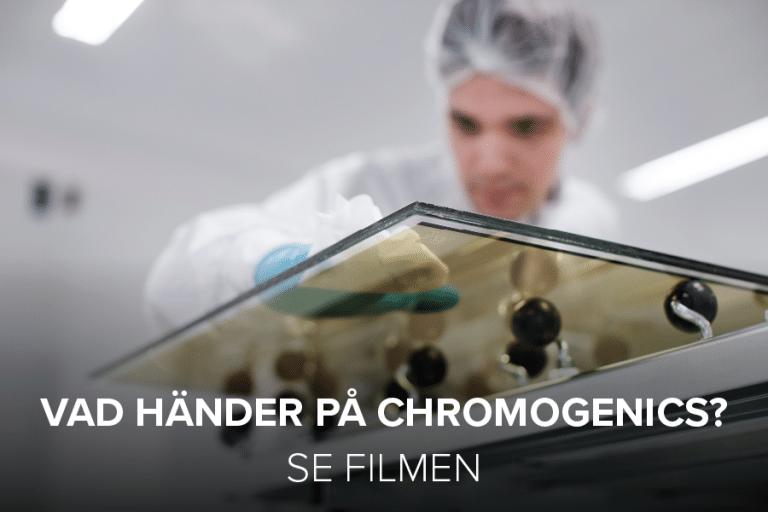 """Man working on dynamic glass. Cover photo for """"Vad händer på ChromoGenics?"""""""