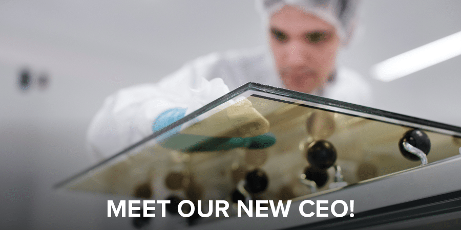 """Man working on dynamic glass. Cover photo for """"Meet our new CEO"""""""